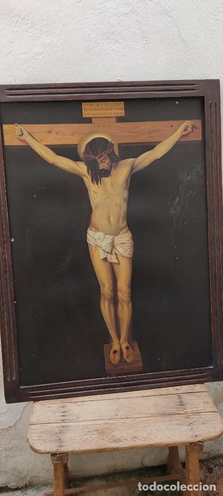 OLEO SOBRE TABLA DEL CRISTO DE VELÁZQUEZ ,OBRA DE FERRER Y GIMENO AÑO 1945 118X81 APROX. (Arte - Arte Religioso - Pintura Religiosa - Oleo)
