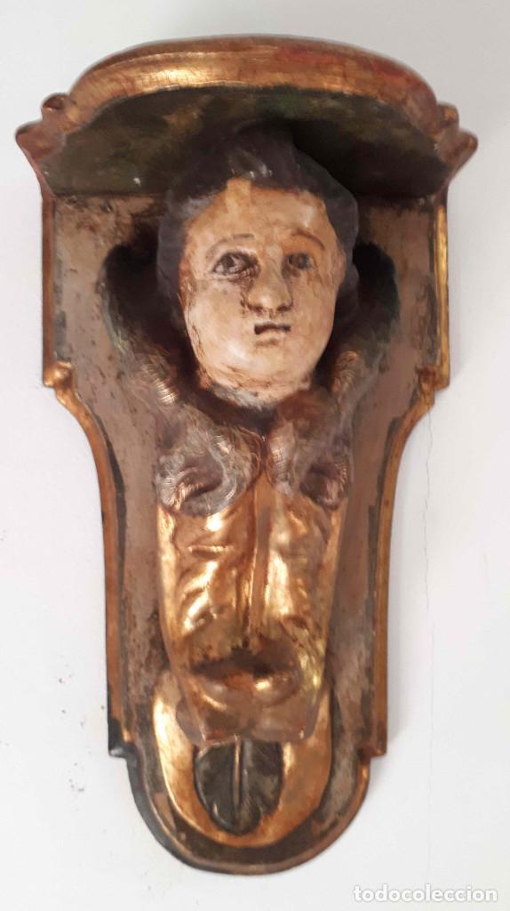 PEANA POLICROMADA DORADA AL ORO FINO. DEL XVIII (Arte - Arte Religioso - Escultura)