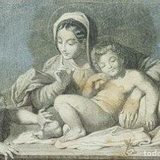 Arte: GRABADO DE LA VIRGEN, EL NIÑO Y SAN JUANITO CON MARCO DORADO DE ÉPOCA. SIGLO XVII.. Lote 226665260