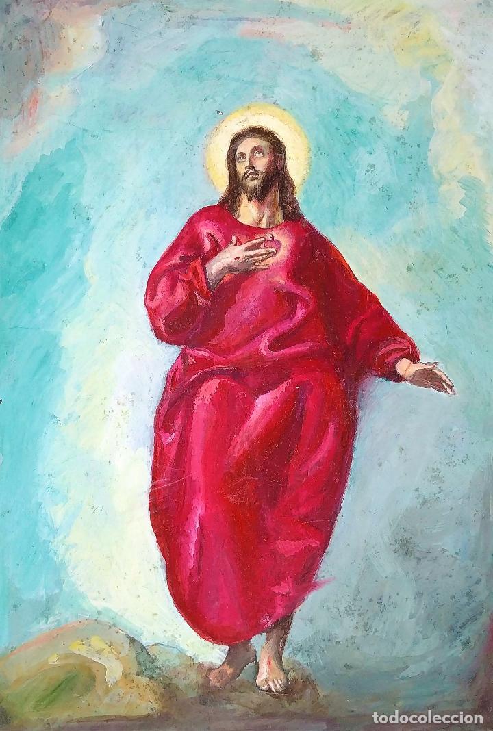 JESUCRISTO CON TÚNICA ROJA. GOUACHE SOBRE PAPEL. ESPAÑA. PRINCIPIO SIGLO XX (Arte - Arte Religioso - Pintura Religiosa - Acuarela)