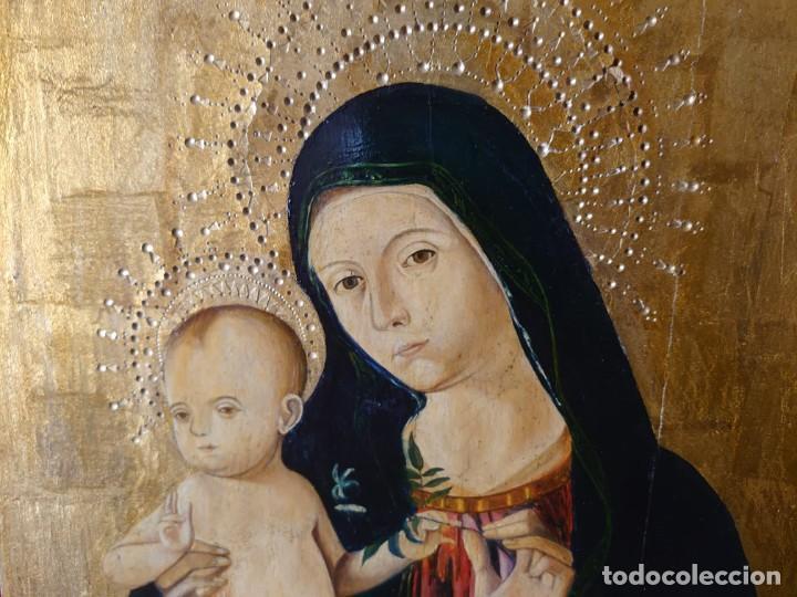 OLEO SOBRE TABLA LA VIRGEN CON EL NIÑO EPOCA QUATTROCENTO 85X70CM (Arte - Arte Religioso - Pintura Religiosa - Oleo)