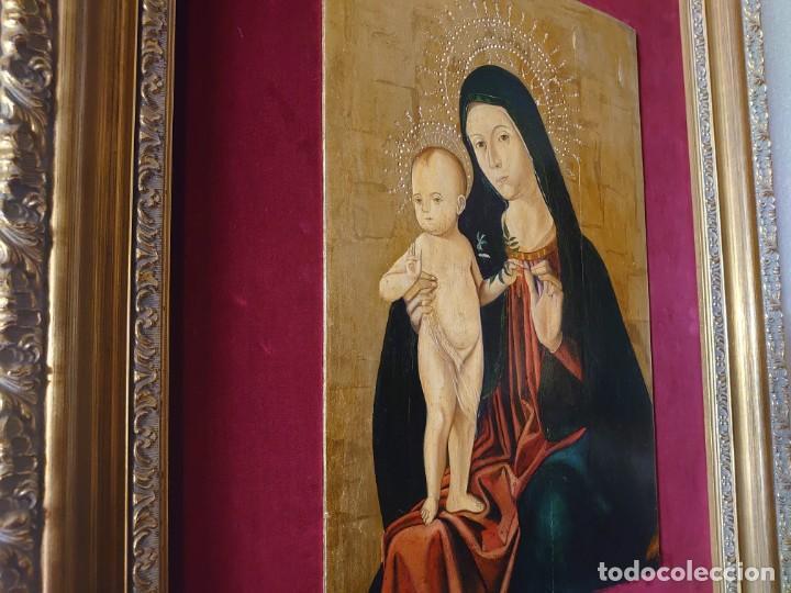 Arte: OLEO SOBRE TABLA LA VIRGEN CON EL NIÑO EPOCA QUATTROCENTO 85X70CM - Foto 6 - 226837295
