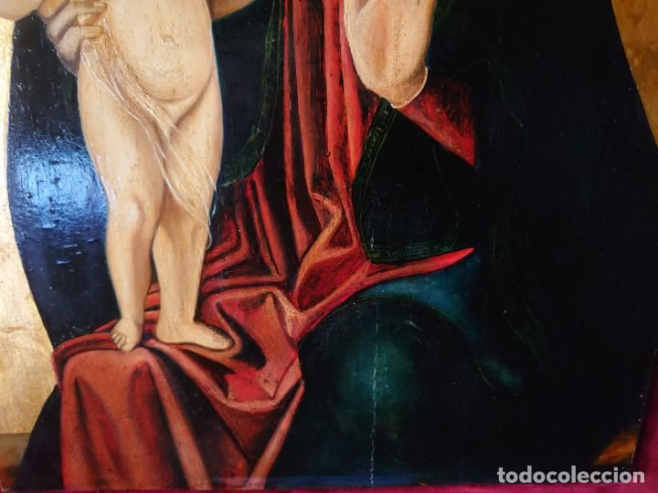 Arte: OLEO SOBRE TABLA LA VIRGEN CON EL NIÑO EPOCA QUATTROCENTO 85X70CM - Foto 14 - 226837295
