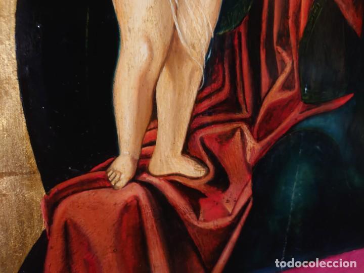 Arte: OLEO SOBRE TABLA LA VIRGEN CON EL NIÑO EPOCA QUATTROCENTO 85X70CM - Foto 15 - 226837295
