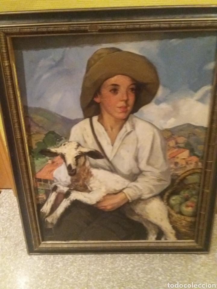OLEO JOSEP MORELL MACIAS GERONA 1899- BARCELONA 1949 RETRATO OVEJA PASTOR NIÑO CAMPRODON GIRONA (Arte - Arte Religioso - Pintura Religiosa - Oleo)