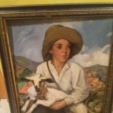 Arte: OLEO JOSEP MORELL MACIAS GERONA 1899- BARCELONA 1949 RETRATO OVEJA PASTOR NIÑO CAMPRODON GIRONA. Lote 226840990