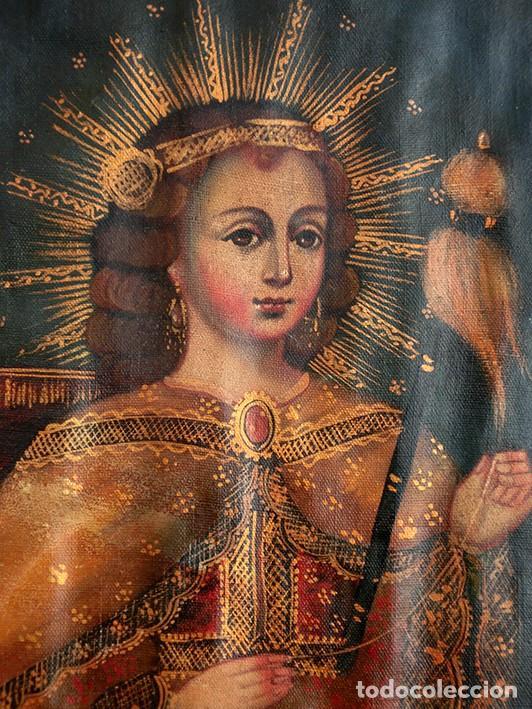 PRECIOSO CUZQUEÑO - LA NIÑA HILANDERA - RÉPLICA CONTEMPORÁNEA - SELLO EN LA PARTE TRASERA - CUSQUEÑO (Arte - Arte Religioso - Iconos)