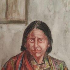Arte: 1-LA MUJER EN EL MUNDO MAYA, ACUARELA. MUJER CON MANTA AL HOMBRO. CHICHICASTENANGO, GUATEMALA.. Lote 226867555