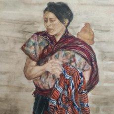 Arte: 4- LA MUJER EN EL MUNDO MAYA, ACUARELA. MUJER CON BEBE A LA ESPALDA. CHICHICASTENANGO, GUATEMALA,.. Lote 226870995