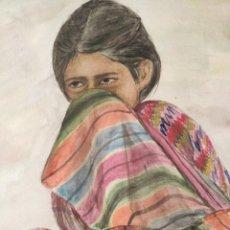 Arte: 5- LA MUJER EN EL MUNDO MAYA, ACUARELA LA TIMIDEZ. CHICHICASTENANGO, GUATEMALA. FIRMADA Y FECHADA:. Lote 226872450