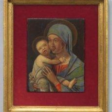 Arte: BONITA MADONNA CON NIÑO JESUS. OLEO S/ TABLA. FIRMADO G. ORTEGA. SIGUIENDO MODELOS CINQUECENTO. Lote 227254250