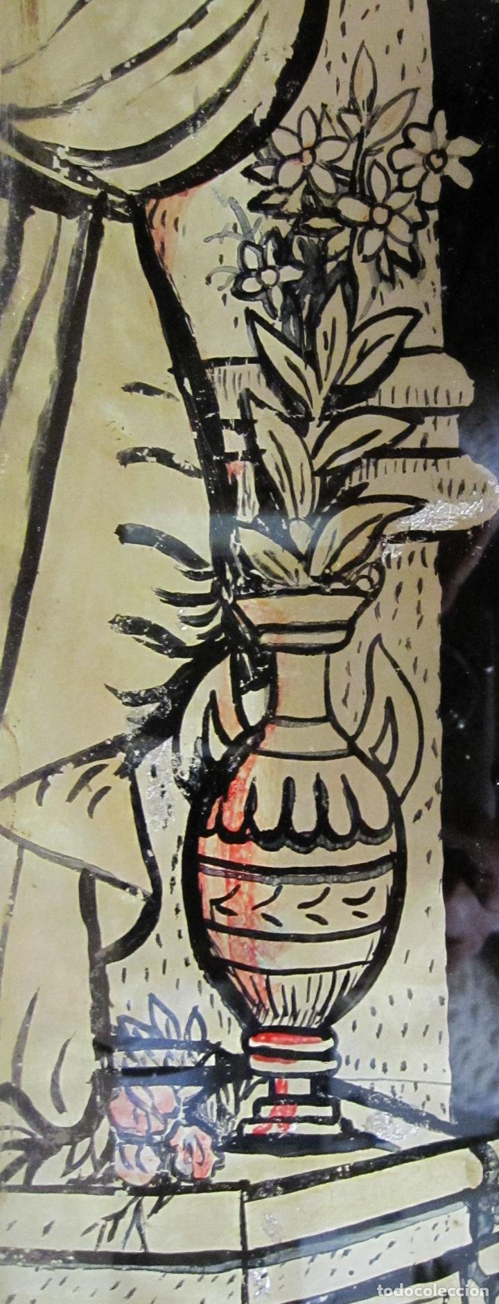 Arte: SANTA ANA CON LA VIRGEN. ANTIGUA PINTURA BAJO VIDRIO Y COLLAGE. VIDRIO 65 X 51 CM. MARCO: 68 X 54 CM - Foto 5 - 227470930