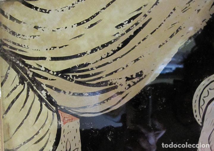 Arte: SANTA ANA CON LA VIRGEN. ANTIGUA PINTURA BAJO VIDRIO Y COLLAGE. VIDRIO 65 X 51 CM. MARCO: 68 X 54 CM - Foto 7 - 227470930