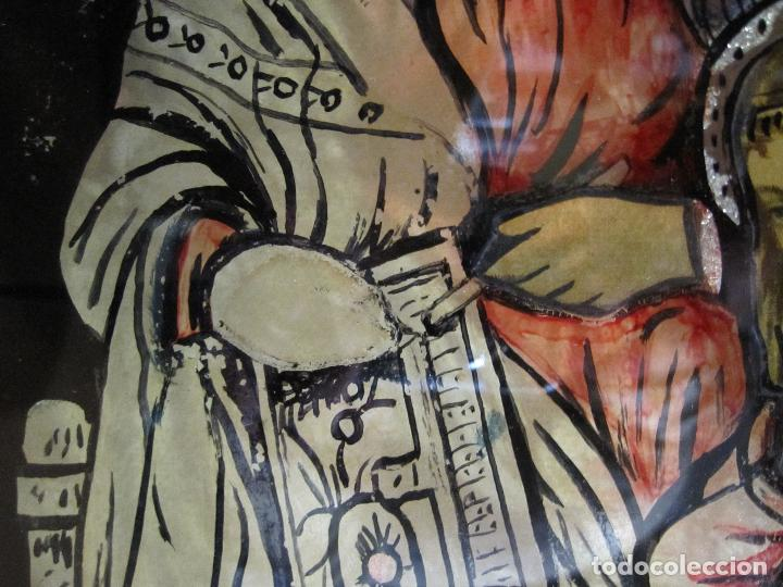 Arte: SANTA ANA CON LA VIRGEN. ANTIGUA PINTURA BAJO VIDRIO Y COLLAGE. VIDRIO 65 X 51 CM. MARCO: 68 X 54 CM - Foto 10 - 227470930