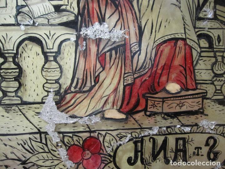Arte: SANTA ANA CON LA VIRGEN. ANTIGUA PINTURA BAJO VIDRIO Y COLLAGE. VIDRIO 65 X 51 CM. MARCO: 68 X 54 CM - Foto 12 - 227470930