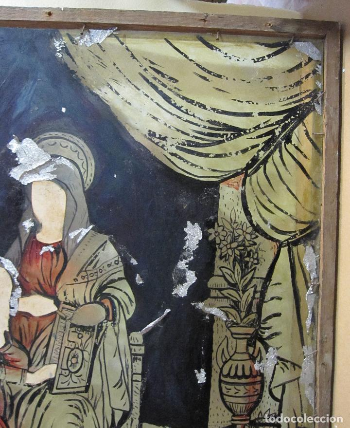 Arte: SANTA ANA CON LA VIRGEN. ANTIGUA PINTURA BAJO VIDRIO Y COLLAGE. VIDRIO 65 X 51 CM. MARCO: 68 X 54 CM - Foto 13 - 227470930