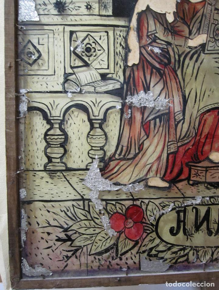 Arte: SANTA ANA CON LA VIRGEN. ANTIGUA PINTURA BAJO VIDRIO Y COLLAGE. VIDRIO 65 X 51 CM. MARCO: 68 X 54 CM - Foto 14 - 227470930