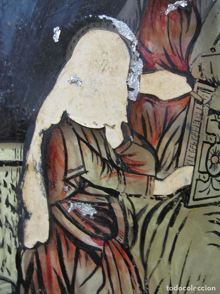 Arte: SANTA ANA CON LA VIRGEN. ANTIGUA PINTURA BAJO VIDRIO Y COLLAGE. VIDRIO 65 X 51 CM. MARCO: 68 X 54 CM - Foto 18 - 227470930