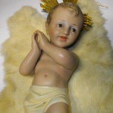 Art: FIGURA NIÑO JESUS EN PASTA DE MADERA ANTIGUO ( ARTE MODELO - OLOT) 33 CTMS. Lote 227678465