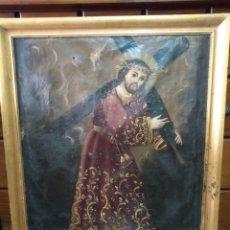 Arte: ,PINTURA RELIGIOSA OLEO SOBRE LIENZO SIGLO XVIII SUS MEDIDAS SON82 CM X68 CM. Lote 227970145