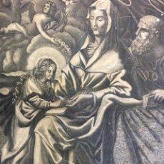 Arte: GRABADO SOBRE LIENZO S. XVIII - SANTA ANA CON LA VIRGEN MARÍA Y SAN JOAQUÍN, ÁNGELES. Lote 227971910