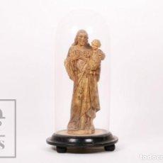 Arte: ANTIGUA TALLA / ESCULTURA RELIGIOSA DE MADERA CON FANAL - SAN JOSÉ Y EL NIÑO JESÚS - SIGLO XIX. Lote 227986240