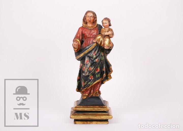 ANTIGUA TALLA / ESCULTURA RELIGIOSA DORADA Y POLICROMADA - VIRGEN MARÍA Y NIÑO JESÚS - SIGLO XVIII (Arte - Arte Religioso - Escultura)