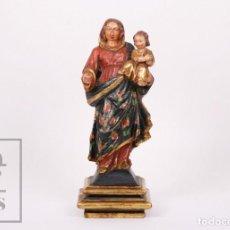 Arte: ANTIGUA TALLA / ESCULTURA RELIGIOSA DORADA Y POLICROMADA - VIRGEN MARÍA Y NIÑO JESÚS - SIGLO XVIII. Lote 227998890
