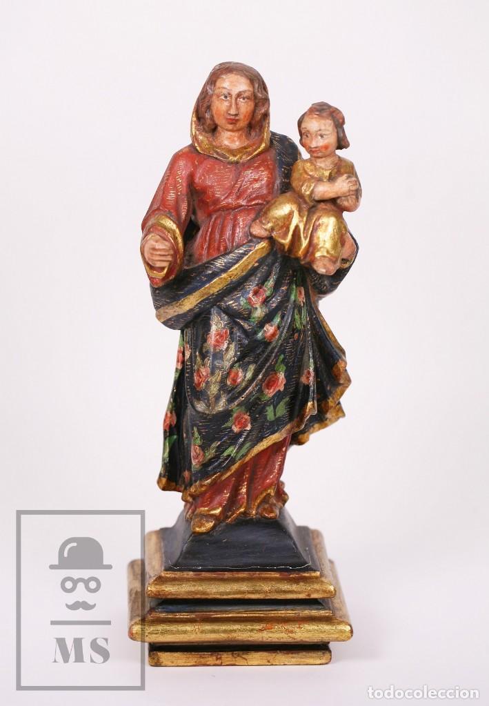 Arte: Antigua Talla / Escultura Religiosa Dorada y Policromada - Virgen María y Niño Jesús - Siglo XVIII - Foto 2 - 227998890