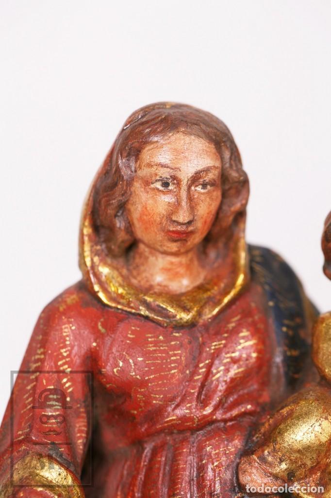 Arte: Antigua Talla / Escultura Religiosa Dorada y Policromada - Virgen María y Niño Jesús - Siglo XVIII - Foto 3 - 227998890