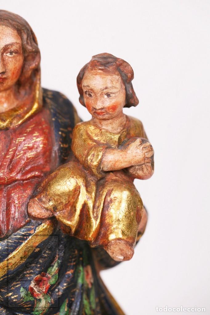 Arte: Antigua Talla / Escultura Religiosa Dorada y Policromada - Virgen María y Niño Jesús - Siglo XVIII - Foto 4 - 227998890