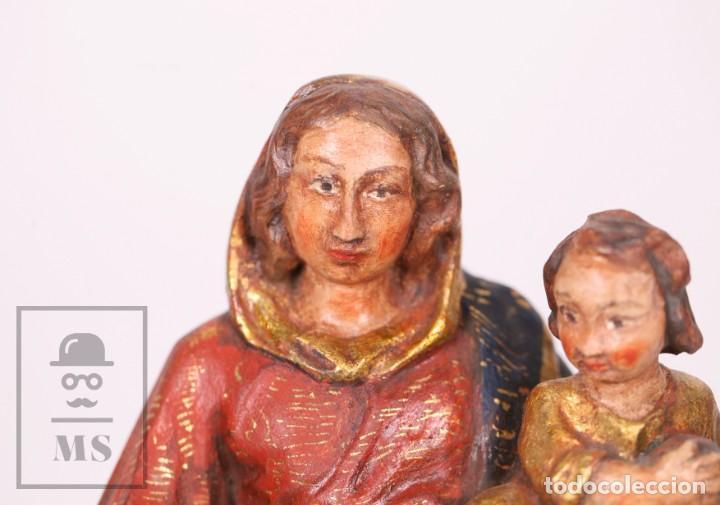 Arte: Antigua Talla / Escultura Religiosa Dorada y Policromada - Virgen María y Niño Jesús - Siglo XVIII - Foto 5 - 227998890
