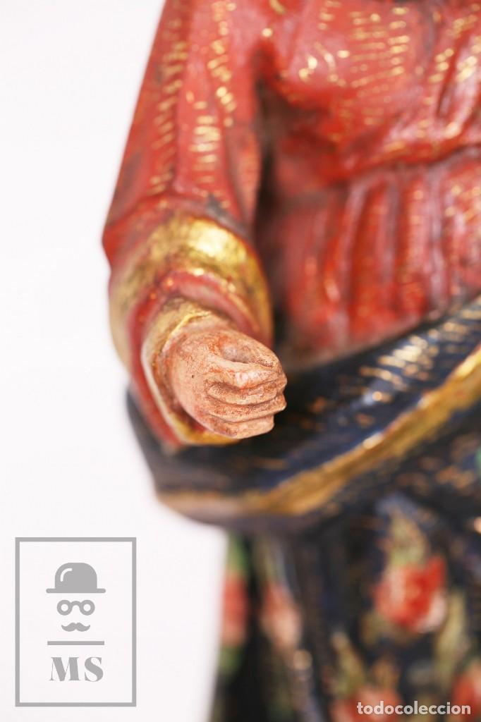 Arte: Antigua Talla / Escultura Religiosa Dorada y Policromada - Virgen María y Niño Jesús - Siglo XVIII - Foto 7 - 227998890