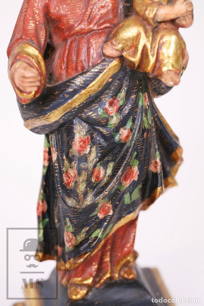 Arte: Antigua Talla / Escultura Religiosa Dorada y Policromada - Virgen María y Niño Jesús - Siglo XVIII - Foto 8 - 227998890