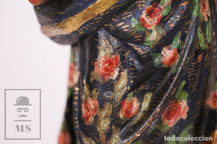 Arte: Antigua Talla / Escultura Religiosa Dorada y Policromada - Virgen María y Niño Jesús - Siglo XVIII - Foto 10 - 227998890