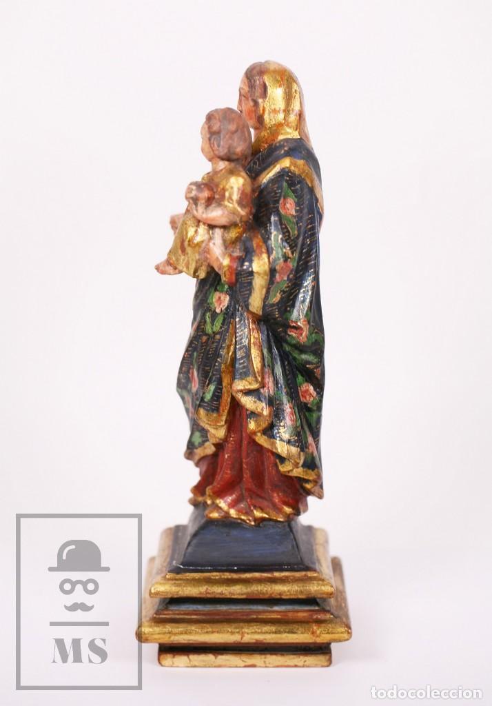 Arte: Antigua Talla / Escultura Religiosa Dorada y Policromada - Virgen María y Niño Jesús - Siglo XVIII - Foto 11 - 227998890