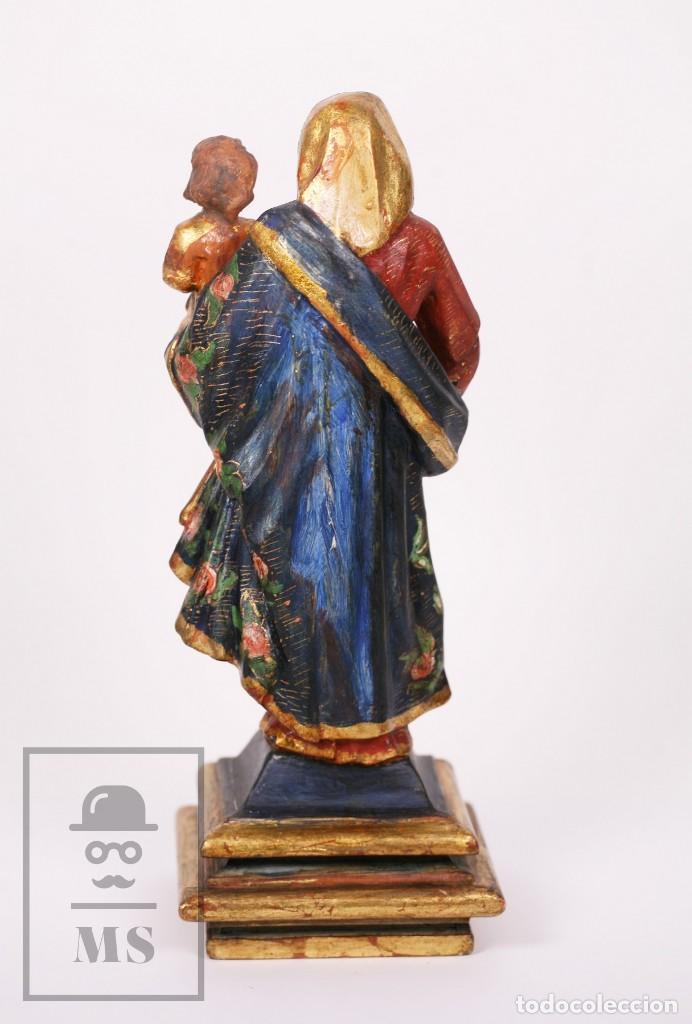 Arte: Antigua Talla / Escultura Religiosa Dorada y Policromada - Virgen María y Niño Jesús - Siglo XVIII - Foto 12 - 227998890