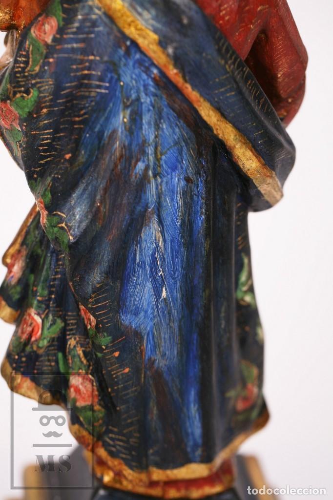Arte: Antigua Talla / Escultura Religiosa Dorada y Policromada - Virgen María y Niño Jesús - Siglo XVIII - Foto 13 - 227998890