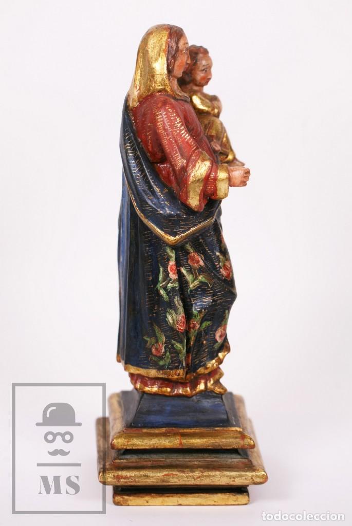 Arte: Antigua Talla / Escultura Religiosa Dorada y Policromada - Virgen María y Niño Jesús - Siglo XVIII - Foto 14 - 227998890