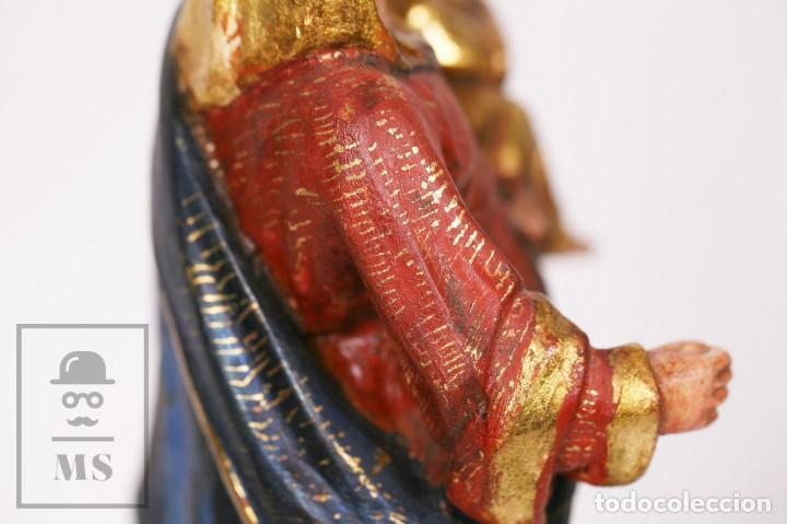 Arte: Antigua Talla / Escultura Religiosa Dorada y Policromada - Virgen María y Niño Jesús - Siglo XVIII - Foto 15 - 227998890