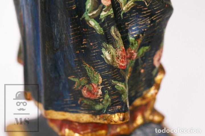 Arte: Antigua Talla / Escultura Religiosa Dorada y Policromada - Virgen María y Niño Jesús - Siglo XVIII - Foto 16 - 227998890