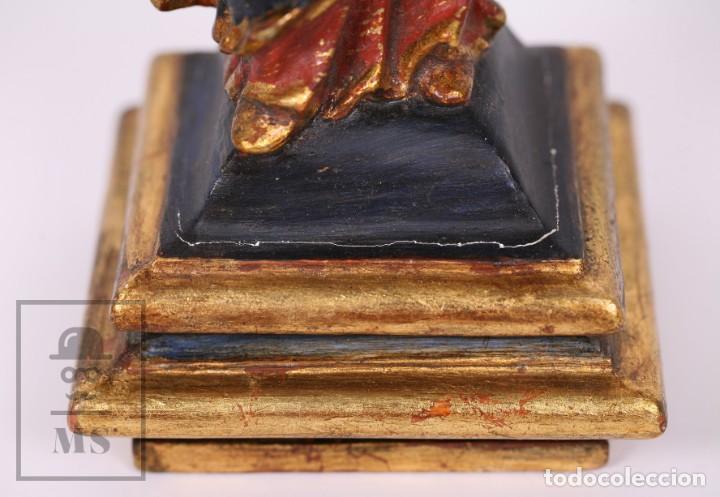 Arte: Antigua Talla / Escultura Religiosa Dorada y Policromada - Virgen María y Niño Jesús - Siglo XVIII - Foto 17 - 227998890