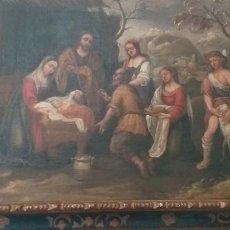 Arte: OLEO SOBRE LIENZO SIGLO XVII ESCUEL ESPAÑOLA ADORACON DE LOS PASTORES 113 X 116 CM. Lote 228279875