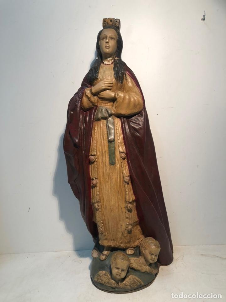 CURIOSA VIRGEN PURISIMA CONCEPCION ANTIGUA DE ARTE POPULAR. PARA RESTAURAR. 65CM (Arte - Arte Religioso - Escultura)