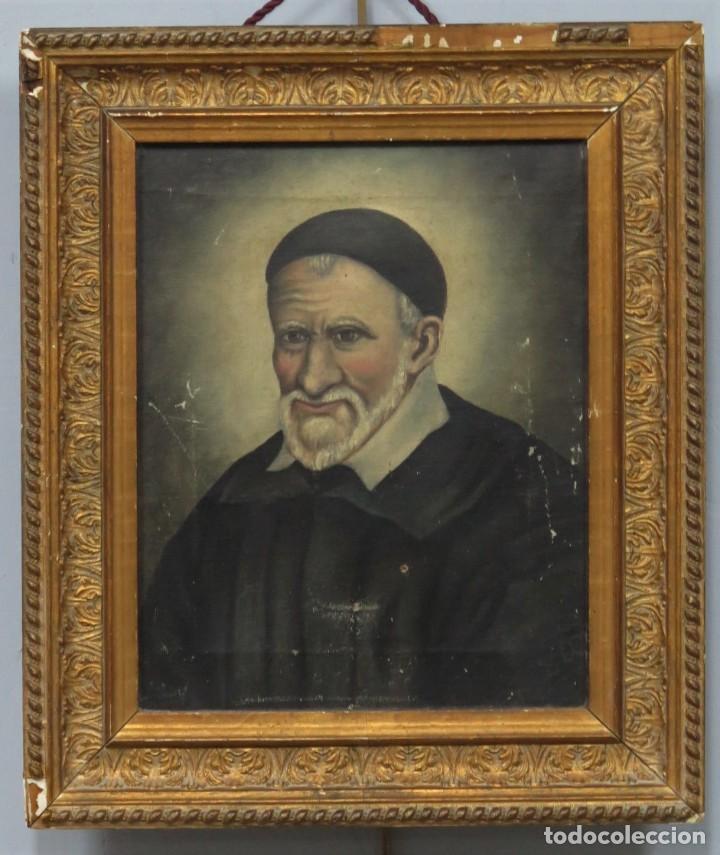 RETRATO DE SAN VICENTE DE PAUL. OLEO S/ LIENZO. FIRMADO. HACIA 1890 (Arte - Arte Religioso - Pintura Religiosa - Oleo)