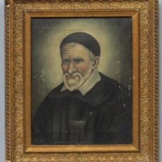 Arte: RETRATO DE SAN VICENTE DE PAUL. OLEO S/ LIENZO. FIRMADO. HACIA 1890. Lote 228348410