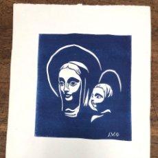 Arte: LINOLEO CON ESCENA RELIGIOSA DEL PINTOR BARCELONES JOAN VILA GRAU. FIRMADO. Lote 228429350