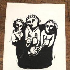 Arte: LINOLEO CON ESCENA RELIGIOSA DEL PINTOR BARCELONES JOAN VILA GRAU.. Lote 228429765