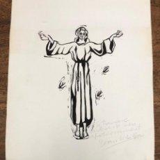 Arte: LINOLEO CON ESCENA RELIGIOSA DEL PINTOR BARCELONES JOAN VILA GRAU. FIRMADO, CON DEDICATORIA. Lote 228430160