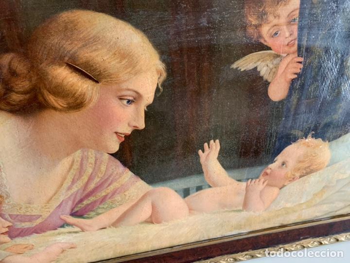 Arte: PRECIOSO CUADRO ( 88x48 cm ). LAMINA VIRGEN - Foto 6 - 228442565